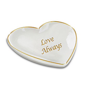"""Love Always"" Porcelain Heart-Shaped Jewelry Tray"
