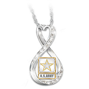 """I Love My Soldier"" Women's Swarovski Crystal Necklace"