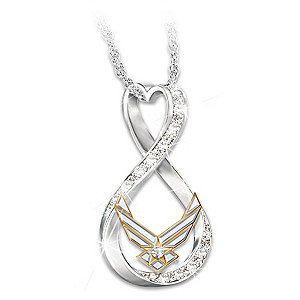 """I Love My Airman"" Women's Swarovski Crystal Necklace"