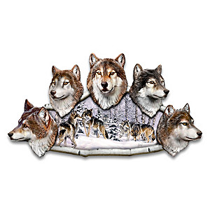 """""""Power Of The Pack"""" Al Agnew Wolf Wall Sculpture"""