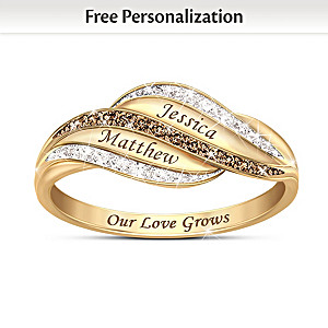 """Our Love Grows Forever"" Personalized Diamond Ring"