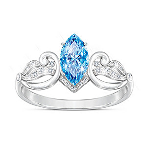 """Sea Of Love"" Swiss Blue Topaz And Diamond Women's Ring"