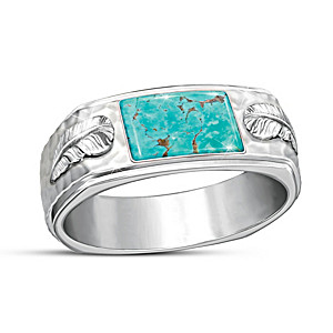 """Sedona Canyon"" Sterling Silver Genuine Turquoise Men's Ring"