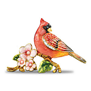 Ruby Radiance Hand-Enameled Cardinal Figurine With Crystals