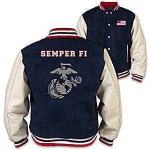 USMC Leather And Wool Men's Varsity Jacket