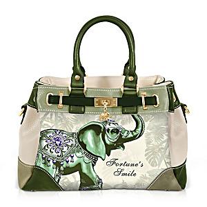 """Fortune's Smile"" Fashion Handbag With Elephant Artwork"