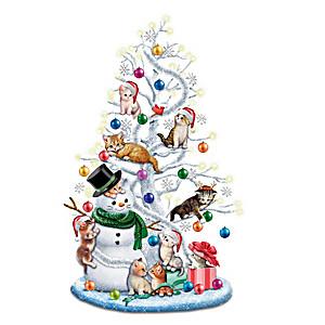 Illuminated Kitten Tabletop Christmas Tree