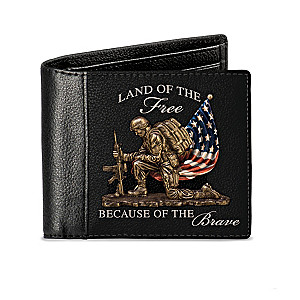 """Land Of The Free"" Patriotic RFID Blocking Leather Wallet"