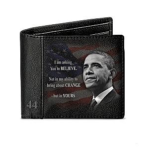 """Barack Obama """"Forever 44"""" Men's RFID Blocking Leather Wallet"""