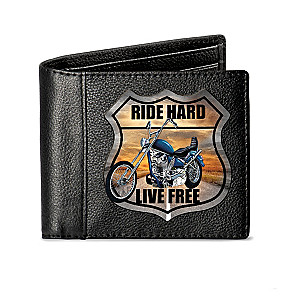 """Ride Hard"" Men's RFID Blocking Leather Bikers' Wallet"