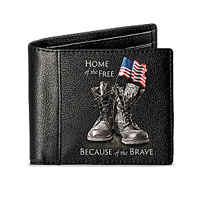 """Home Of The Free"" RFID Blocking Men's Leather Wallet"