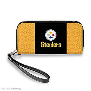 Pittsburgh Steelers Women's Faux Leather Clutch Wallet