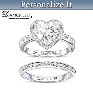 """""""Surrounded By Love"""" Personalized Diamonesk Bridal Ring Set"""