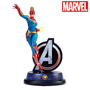 Illuminated Captain Marvel Sculpture With Avengers Logo