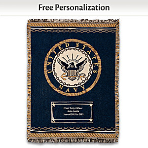 U.S. Navy Personalized Throw Blanket With Emblem