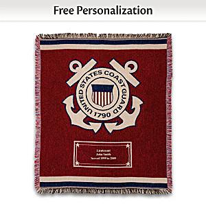 U.S. Coast Guard Personalized Throw Blanket With Emblem