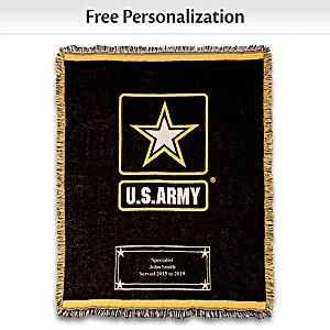 U.S. Army Personalized Cotton Throw Blanket With Logo