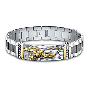 """""""We The People"""" Men's Bracelet Ion-Plated With 24K Gold"""