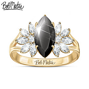 Bob Mackie 1K Gold Ring With Black Spinel And White Topaz
