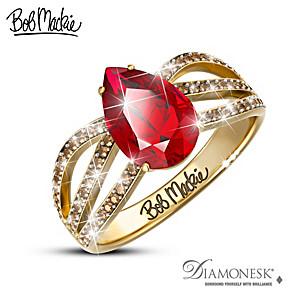 Bob Mackie 3.4 Carat Simulated Ruby And Mocha Diamond Ring