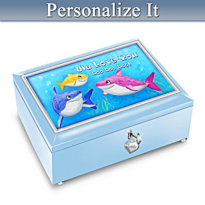"""""""Baby Shark"""" Music Box With Personalized Name Charm"""