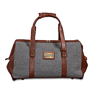 """""""Navy Pride"""" Widemouth Duffel With Bronze-Finish Plaque"""