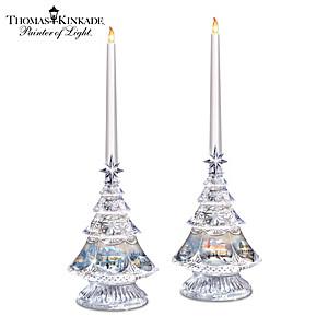 Crystal Candleholders With Thomas Kinkade Holiday Art