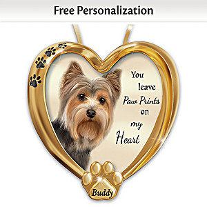 Personalized Pet Ornament With Yorkie Artwork