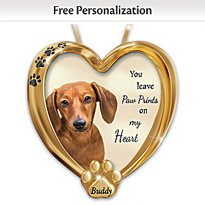 Personalized Pet Ornament With Dachshund Artwork
