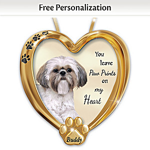 Personalized Pet Ornament With Shih Tzu Artwork