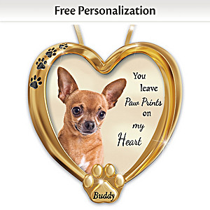Personalized Pet Ornament With Chihuahua Artwork
