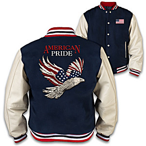 Patriotic Leather And Wool Men's Varsity Jacket
