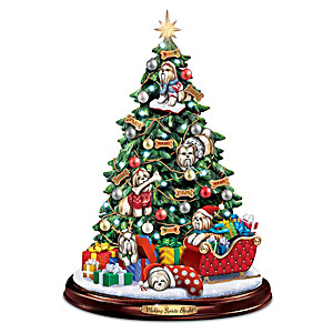 Shih Tzu Illuminated Tabletop Christmas Tree