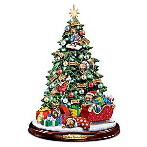 Pug Illuminated Tabletop Christmas Tree