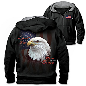 """American Freedom"" Full-Zip Knit Hoodie With Fleece Lining"