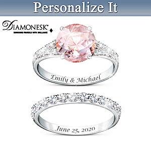 Personalized Bridal Ring Set With Simulated Diamonds