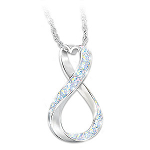"""Friends Forever"" Aurora Borealis Crystal Pendant Necklace"