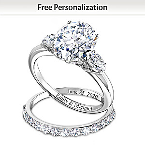 """Brilliance Of Our Love"" Personalized Diamonesk Bridal Rings"