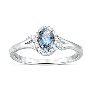"""Glacier Waters"" Montana Sapphire Ring With White Topaz"