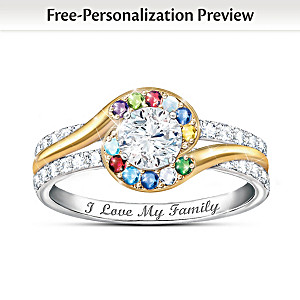 """Real Love Of Family"" Personalized Genuine Birthstone Ring"