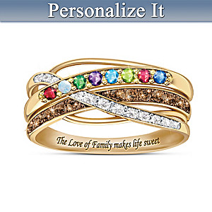 """Sweet Life"" Personalized Family Birthstone And Diamond Ring"