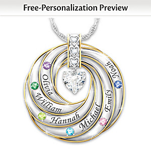 Family Necklace Personalized With Names And Birthstones