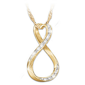 18K Gold-Plated Diamond Infinity Pendant For Daughter
