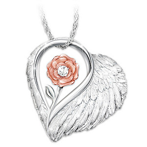 """Forever Loved"" Mother Remembrance Necklace With A Diamond"