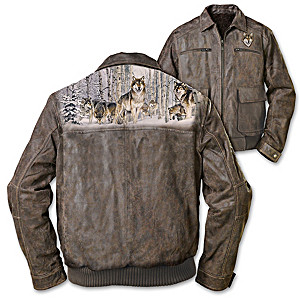 Al Agnew Men's Leather Jacket With Wolf Art