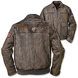 Patriotic Distressed Leather Men's Jacket