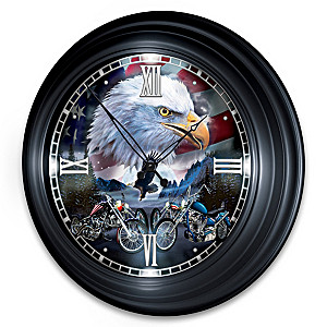 Illuminated Atomic Clock With Motorcycle And Eagle Art