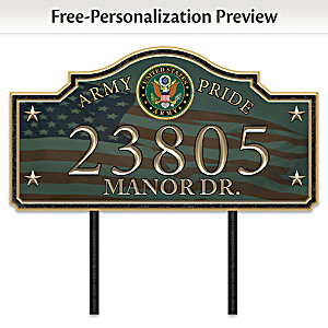 """Army Pride"" Personalized Outdoor Address Sign"