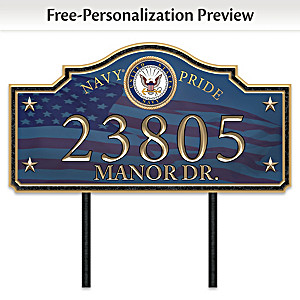 """Navy Pride"" Personalized Outdoor Address Sign"