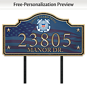 """Coast Guard Pride"" Personalized Outdoor Address Sign"